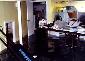 A laundry room flood in Carlton, with several feet of water flooded in.