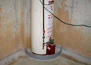 A water heater in Lockwood that's been protected by the FloodRing® and a perimeter drain system.
