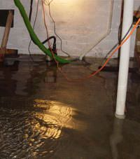Several feet of floodwaters in a Unity basement
