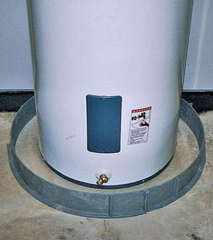 An old water heater in Osler, SK with flood protection installed